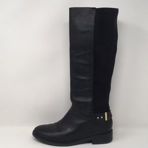 Cole Haan Black Tall Boots Leather Gold Buckle 7